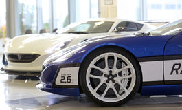 Super car. One wheel of super electric car, blue and white Royalty Free Stock Image
