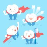 Super cartoon tooth take brush Royalty Free Stock Photo