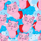 Super cat fly cute seamless pattern Royalty Free Stock Photos