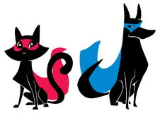Super Cat and Super Dog Silhouettes. Full length illustration of a cute cartoon cat sitting next to a dog with super powers while wearing superhero capes against vector illustration