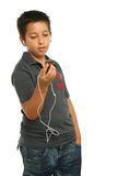 super chłopiec słuchał muzyki Obrazy Royalty Free