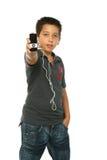 super chłopiec słuchał muzyki Obrazy Stock