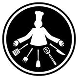Super chef. Chef and many tools for cooking in black signal Royalty Free Stock Photography