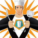 Super Chef with fork and spatula Stock Photo