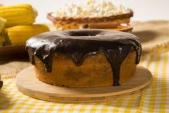 Super chocolate cake with chocolate sauce Stock Photography