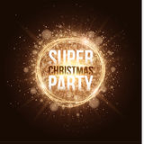 Super Christmas party. Glowing neon magic banner made of strips of gold dust. Bright golden flash with rays of light. Merry Christ. Mas. Festive brochure. Vector stock illustration