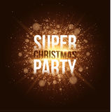 Super Christmas party. Luxurious golden invitation card. Bright golden flash with rays of light. Merry Christmas. Festive brochure Stock Photo