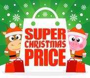 Super Christmas Price card with bull and pig Royalty Free Stock Photo