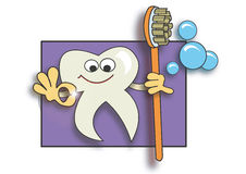 Super clean tooth. Creative illustration, a happy clean tooth holding a tooth brush, usefull for dentists stock illustration