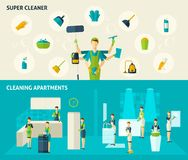 Super Cleaner Flat Banners Set Stock Image
