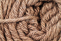 Brown Yarn Texture Close Up Stock Images