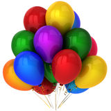 Super colorful helium balloons (Hi-Res). Multicolor (yellow, red, blue, green, cyan, orange, purple) party helium balloons. This is a detailed 3D render royalty free illustration