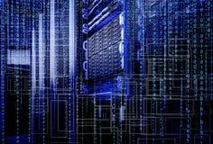 Super-computador do armazenamento da lâmina do código binário de centro de dados Foto de Stock Royalty Free