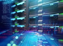 Super computer server racks in datacenter. 3d illustration. 3D illustration of super computer server racks in datacenter,concept of big data storage and cloud vector illustration