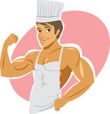 Super cook. Naked muscular cook wearing apron Royalty Free Stock Images