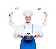 Super cook with many hands Royalty Free Stock Photos