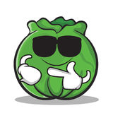 Super cool cabbage cartoon character style Stock Images