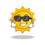 Super cool cute sun character cartoon. Vector illustration Stock Photography