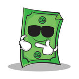Super cool Dollar character cartoon style Royalty Free Stock Image