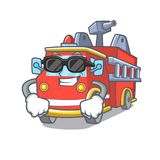 Super cool fire truck character cartoon. Vector illustration Royalty Free Stock Photos