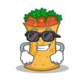 Super cool kebab wrap character cartoon. Vector illustration royalty free illustration