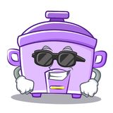 Super cool rice cooker character cartoon Royalty Free Stock Photography