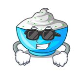 Super cool sour cream in a wooden bowl cartoon royalty free illustration