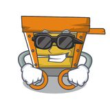 Super cool wooden trolley character cartoon. Vector illustration royalty free illustration
