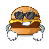 Super coolcheese geschmackvoller Burger auf Charaktertabelle stock abbildung