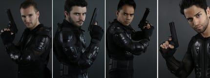 Super cops - portret van vier mensen van de speciale krachten stock afbeeldingen