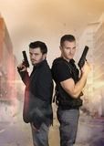 The super cops - Two sexy policemen posing Stock Image