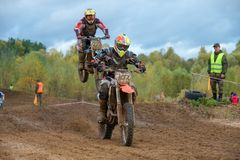 Super country-cross. SERPUKHOV, RUSSIA - OCTOBER 7, 2017: Sovbyanov Roman 107,  Class Super-sprint absolute, in the 4 stage  MX series, the Red Wings Cup 2017 Stock Photos