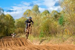 Super country-cross. SERPUKHOV, RUSSIA - OCTOBER 7, 2017: Unrecognized athlete,  Class MX - absolute cross-country, in the 4 stage  MX series, the Red Wings Cup Royalty Free Stock Photography