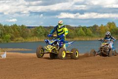 Super country-cross. SERPUKHOV, RUSSIA - OCTOBER 7, 2017: Yarovoy Evgeniy 6,  Class ATV, in the 4 stage  MX series, the Red Wings Cup 2017 super country-cross Stock Photos