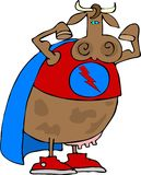 Super Cow. This illustration depicts a cow dressed as a super hero and flexing her biceps Royalty Free Stock Photos
