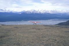�Super Cub� Piper bush airplane in St. Elias National Park and Preserve, Wrangell Mountains, Wrangell, Alaska Stock Image