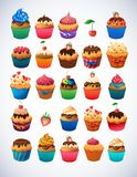Super cupcake pack. Chocolate and vanilla icing Royalty Free Stock Photo