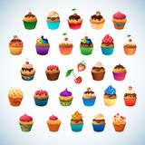 Super cupcake pack. Chocolate and vanilla icing Royalty Free Stock Image