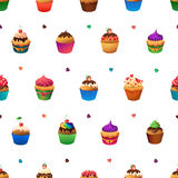 Super cupcake seamless pattern. Chocolate and Royalty Free Stock Photography