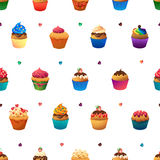 Super cupcake seamless pattern. Chocolate and Stock Photos