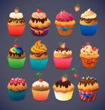 Super cupcakepak Chocolade en vanillesuikerglazuur Royalty-vrije Stock Afbeeldingen