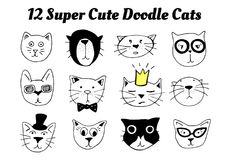12 super cute doodle cats. Vector illustration of 12 super cute doodle cats. Pet animals portraits with different emotions: funny, sad, surprised, proud, high Royalty Free Illustration