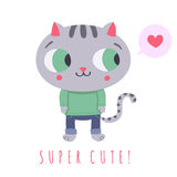 Super cute gray cat in jeans and sweater with speech bubble and heart illustration Royalty Free Stock Photography