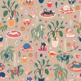 Super cute Hygge Christmas home chill out with hot drinks, home plants and cats. Seamless vector repeat pattern royalty free illustration