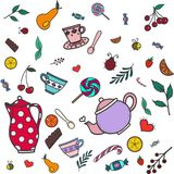 Super cute set of Tea and Sweets icons - kettle, cookie, tea, ca vector illustration