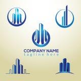 Super 3D blue Building Logo Design template stock illustration