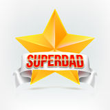 Super dad badge with ribbon Royalty Free Stock Image
