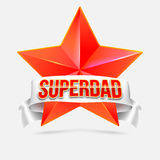 Super dad badge with ribbon Stock Photography