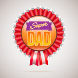 Super dad badge with ribbon Stock Photo