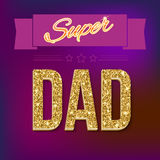 Super dad card with ribbon Royalty Free Stock Images